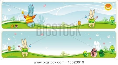Easter spring banner set with space for your logo and text. 