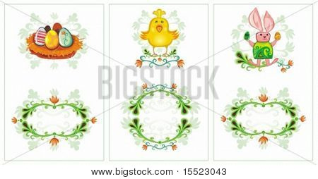 Easter set of vertical cards with space for your text Bunny, Bird (chick), nest with eggs, flowers. To see similar, please VISIT MY GALLERY.