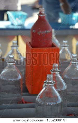 Carnival Midway game ring toss glass bottle