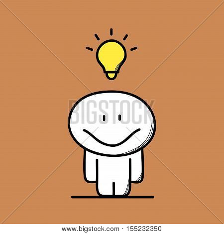 Cute funny and happy man with smile and the light bulb on the brown background. Idea, solution or answer - cartoon vector illustration.