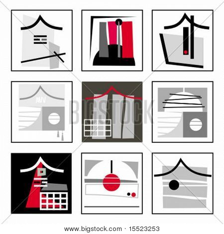 Abstract Constructive asian  design elements.  To see similar, please VISIT MY GALLERY.