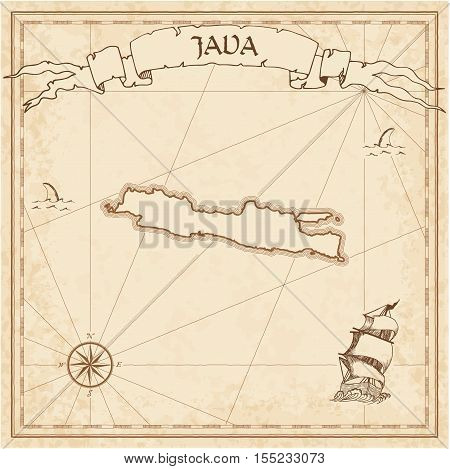 Java Old Treasure Map. Sepia Engraved Template Of Pirate Island Parchment. Stylized Manuscript On Vi