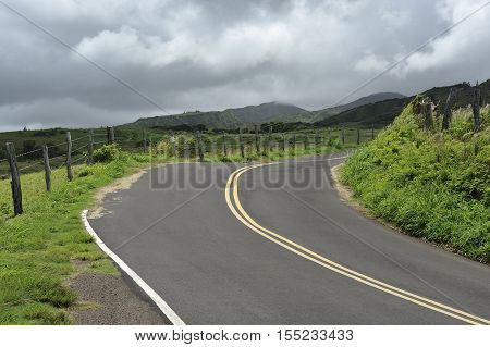 Empty country road on the grassy hills of Maui, Hawaii