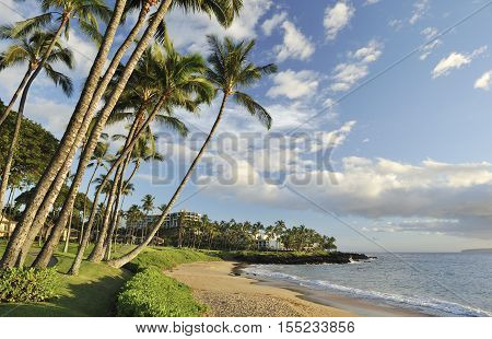 Empty tropical beach at sunset in Maui, Hawaii