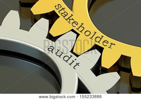 Stakeholder Audit concept on the gearwheels 3D rendering