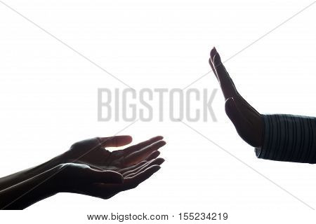 Women Hand Stretched With Alms Across From The Refusal - Silhouette