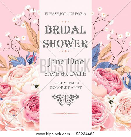 Vector bridal shower invitation with vintage roses and gypsophila