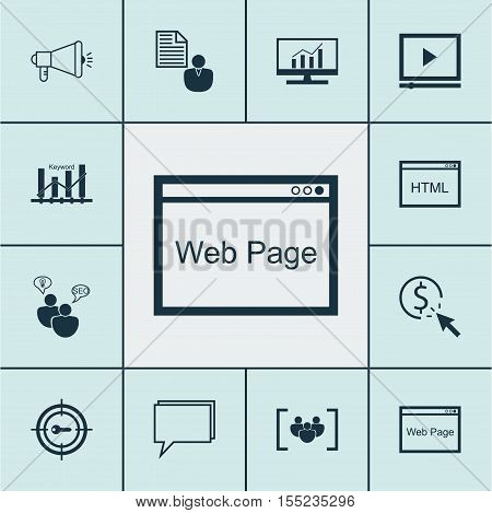Set Of Seo Icons On Questionnaire, Keyword Marketing And Keyword Optimisation Topics. Editable Vecto