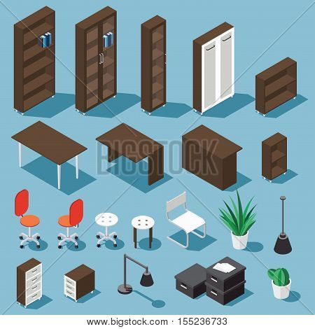 Isometric dark brown office furniture set. Collection includes tables shelves bureau cabinet locker lamps chairs houseplants paper box and cactus. Stock vector.