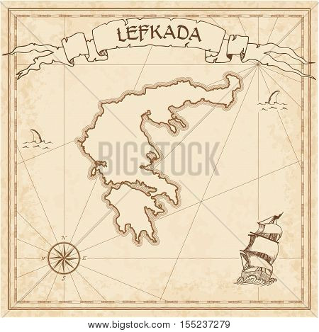 Lefkada Old Treasure Map. Sepia Engraved Template Of Pirate Island Parchment. Stylized Manuscript On