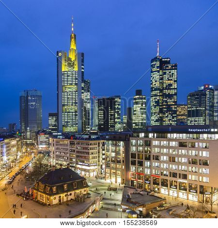 View To Skyline Of Frankfurt With Hauptwache
