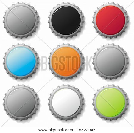 Blank bottle caps 3 - vector set. To see similar, please VISIT MY GALLERY.