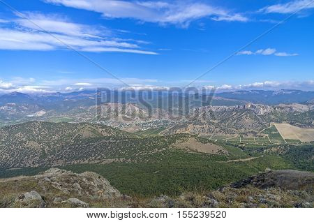 View from the top of Mount Ai-George in the direction of the village Dachnoe. Crimea September. Crimea September.