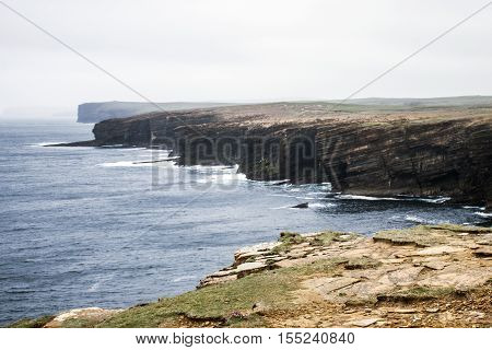 Panorama of Orkney coastline Yesnaby cliff landscape 8