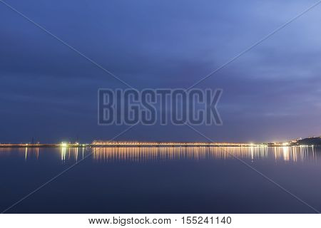 Sunset during blue hour over Volga River and Presidental Bridge located in Ulyanovsk Russia.