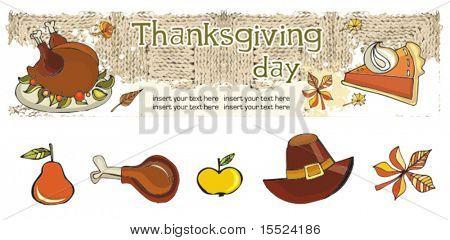 Thanksgiving  banner 1, vector.