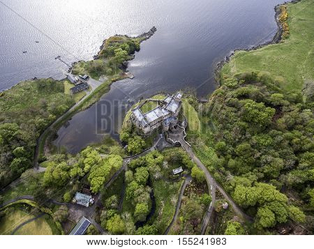 Aearial shot Landscape At Loch Dunvegan, Colbost, Isle of Skye, Scotland, Great Britain
