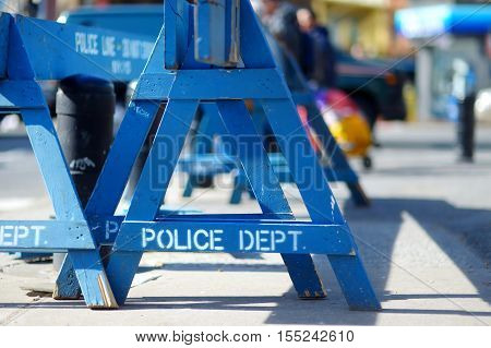 Wooden Do Not Cross Police Barriers In New York