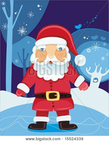 Christmas Santa Claus in the forest - vector illustration. To see similar, please VISIT MY GALLERY.