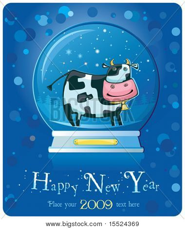 Cute friendly cow inside of the snow-dome. 2009 is the Year of the Ox according to the Chinese Zodiac.