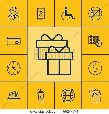 Set Of Travel Icons On Credit Card, Plastic Card And Appointment Topics. Editable Vector Illustratio