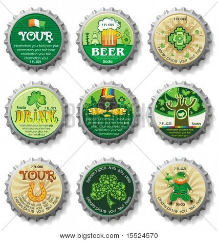 St. Patrick's Day bottle caps- vector buttons.  To see similar, please VISIT MY GALLERY.
