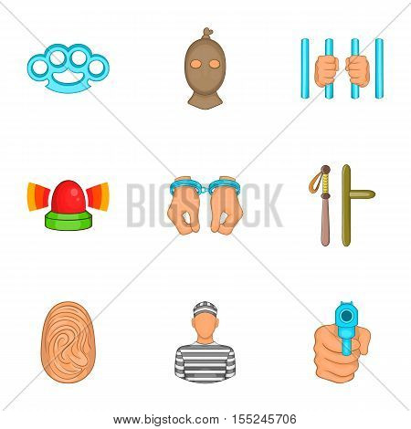 Lawlessness icons set. Cartoon illustration of 9 lawlessness vector icons for web