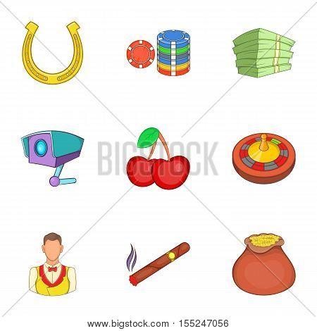 Gambling house icons set. Cartoon illustration of 9 gambling house vector icons for web