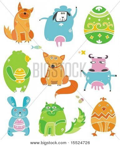 Cute Easter animals with eggs.  To see similar, please VISIT MY GALLERY.