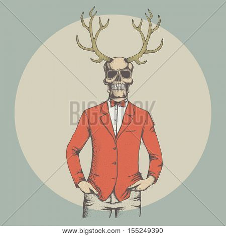 Vector skull with deer horn illustration. Hand drawn. Spooky and scary halloween skull
