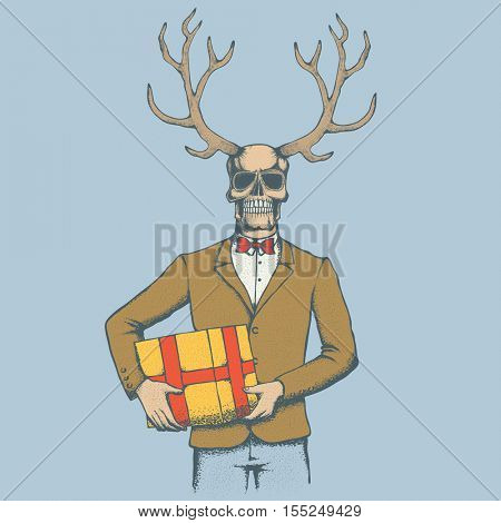 Vector skull with deer horn and gift illustration. Hand drawn. Spooky and scary halloween skull