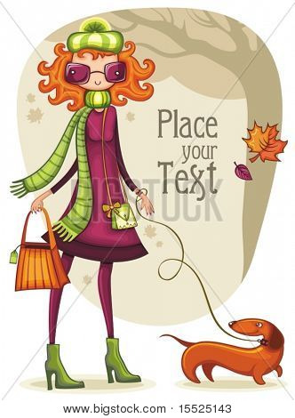 Whimsical shopping girl with dachshund  in the autumn park. To see similar,  please VISIT MY PORTFOLIO
