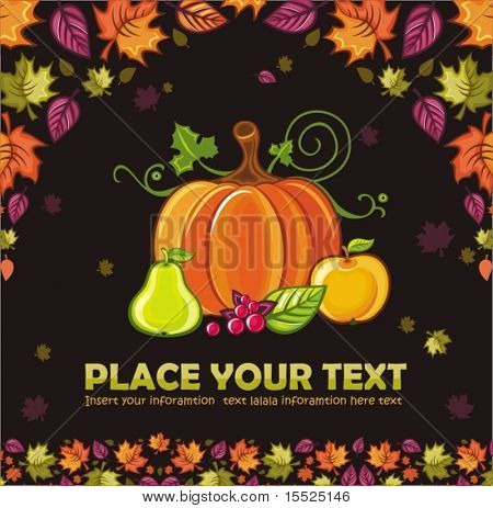 Thanksgiving Design: colorful leaves flying around pumpkin,pear,apple berries. To see similar,  please VISIT MY PORTFOLIO