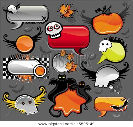 Halloween speech bubbles - vector set of design elements. To see similar,  please VISIT MY PORTFOLIO