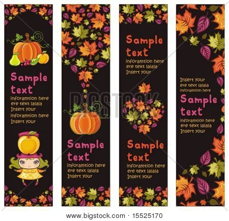 Colorful Autumnal banners with fall leafs, pumpkin, apple, pear, berries, cute little girl. With space for your text. To see similar, please VISIT MY PORTFOLIO