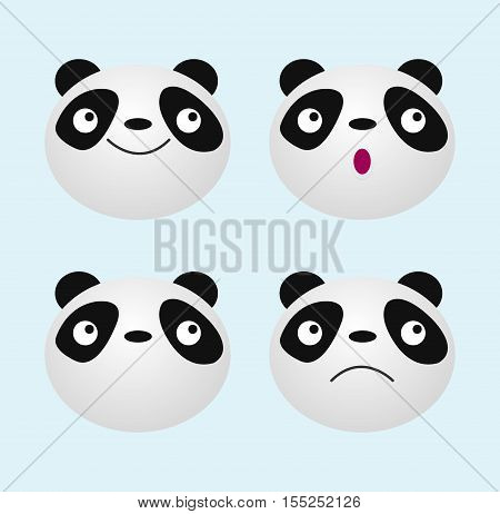 panda face, Cute animal Panda bear icon Vector Illustration: