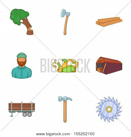 Sawing icons set. Cartoon illustration of 9 sawing vector icons for web
