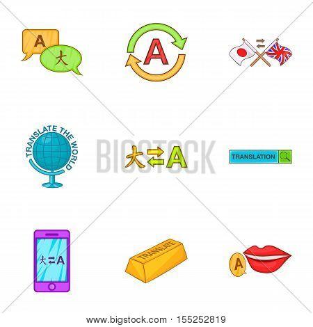 Translation icons set. Cartoon illustration of 9 translation vector icons for web