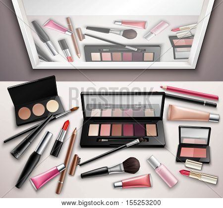 Makeup work space accessories realistic top view image with eye shadows shades set and mirror reflection vector illustration