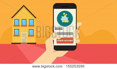 Hand Hold Cell Smart Phone Application Online Banking Payment Banner Flat Vector Illustration