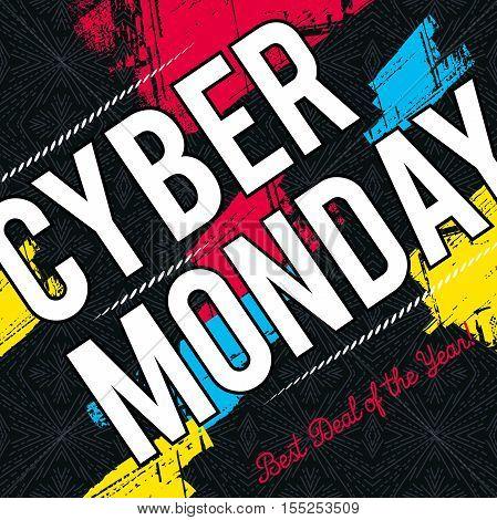 Cyber Monday sale banner on black patterned background vector illustration