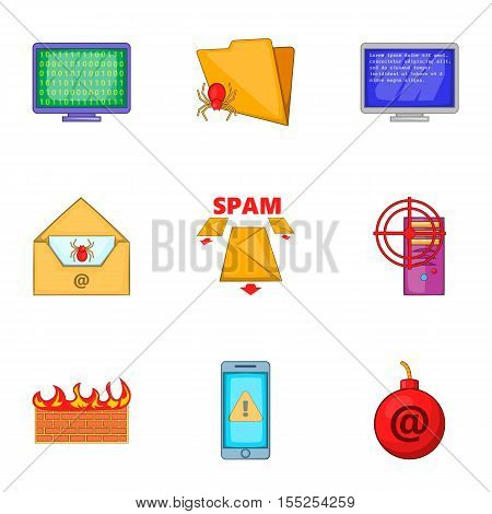 Cyber attack icons set. Cartoon illustration of 9 cyber attack vector icons for web