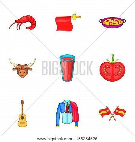 European Spain icons set. Cartoon illustration of 9 european Spain vector icons for web
