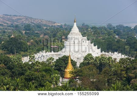 Beautiful white Hsinbyume Pagoda in Mingun seen from above. Western bank of Irrawaddy river, Myanmar