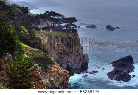 Pacific Ocean Big Sur California cloudy day Public Picnic Area
