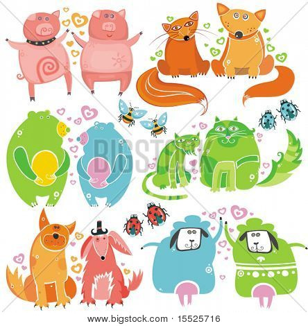 Valentine animals set  series