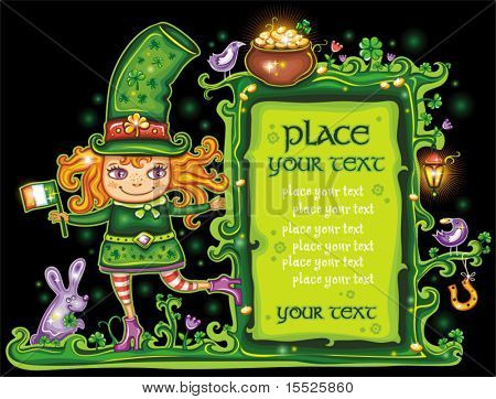 St. Patrick's Day frame with cute  Leprechaun,girl holding Irish flag with place for your text.