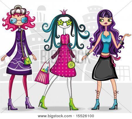 Niñas de moda urbana (de serie de la chica de moda)