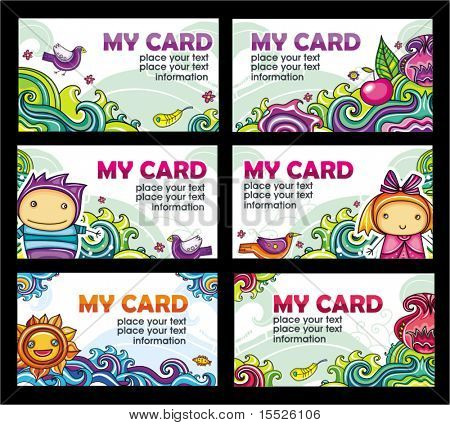 Colorful floral cards set (floral series)