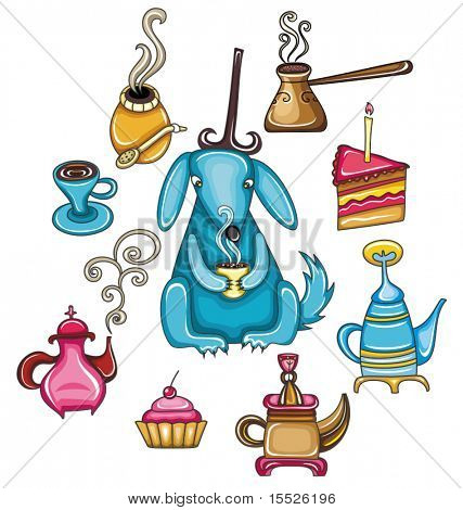 Funny, coffee, mate, tea, set with cute dog
